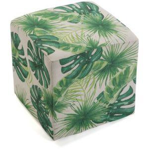 Wellindal Pouf cube imprimé feuilles vertes LEAVES