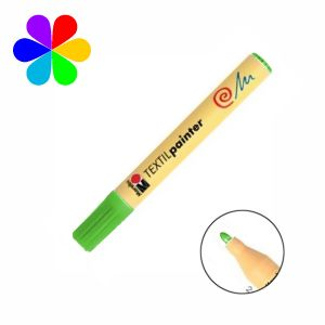 Marabu 011703062 - Marqueur pour tissu Textil Painter, vert clair, pointe ogive 2-4 mm