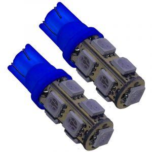 Aerzetix : 2x ampoule T10 W5W 12V 9LED SMD bleu veilleuses éclairage intérieur seuils de porte plafonnier pieds lecteur de carte coffre compartiment moteur plaque d'immatriculation