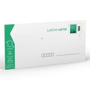 Enveloppes pré-timbrées vertes 110 x 220 mm - Boîte de 100