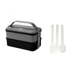KITCHEN FRIDAY Lunch box KBOX3 2x600 ml gris - Matière : plastique - Contenance : 1200 ml - Coloris : gris - Avec 3 couverts