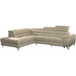 Comforium Canapé d'angle design avec relax électrique et méridienne gauche en cuir véritable et cuir synthétique crème
