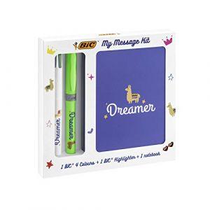Bic My Message Kit Dreamer - Kit de Papeterie avec 1 Stylo-Bille 4 couleurs/1 Surligneur Highlighter Grip Vert/1 Carnet de N
