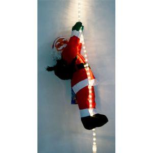 Père Noel grimpant sur un tube lumineux
