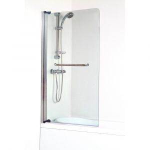 Lt aqua + Pare baignoire Sandra - En verre trempé : 4 mm - Volet pivotant : 80 x 140 cm - En verre trempé transparent : 4 mm - Volet pivotant : 80 x 140 cm - Avec porte-serviette en inox chromé