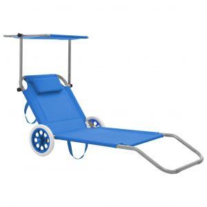VidaXL Chaise longue pliable avec auvent et roues Acier Bleu