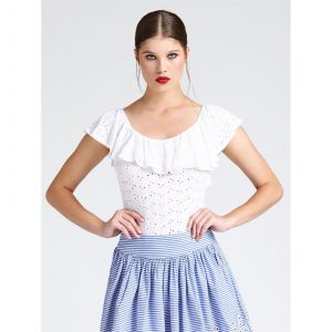 Guess Body à broderie anglaise et volants Blanc - Taille 34