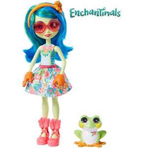 Mattel Enchantimals Mini-poupée Tamika Grenouille et Figurine Animale Burst, aux cheveux bleus avec jupe à motifs en tissu, jouet enfant, GFN43