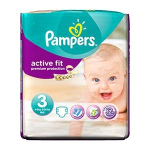 Pampers Active Fit taille 3 Midi (4-9 kg) - 26 couches