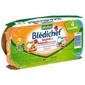 Blédina Blédichef 4 assiettes Epinards Saumon + Spaghetti Bolognaise 4 x 230 g - dès 12 mois