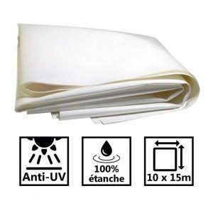 Toile de toit pour tonnelle et pergola 680g/m² blanche 10x15m PVC