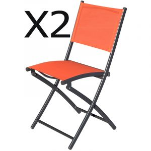 Pegane Lot De 2 Chaises Jardin Pliantes Texaline Coloris Orange