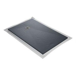Receveur de douc résine gris ardoise imitation ardoise 120 x 90 cm avec grille carrée inox coloris blanc, natte étanc pré montée et siphon ultra plat U TILE