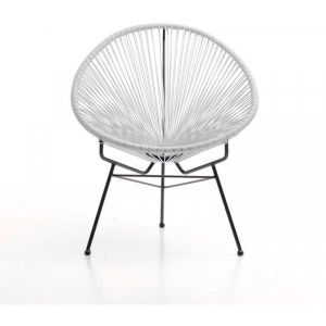Fauteuil Acapulco chaise oeuf design rétro cordage blanc