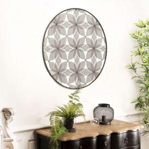 Macabane Décoration murale ronde 90x90cm métal noir fleurs