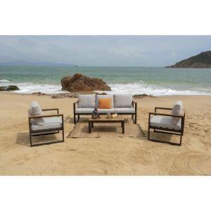 HAO Salon jardin en bois d\'eucalyptus 5 places - un canapé et deux  fauteuils avec une table basse - HAO Salon jardin en bois d\'eucalyptus 5  places - ...