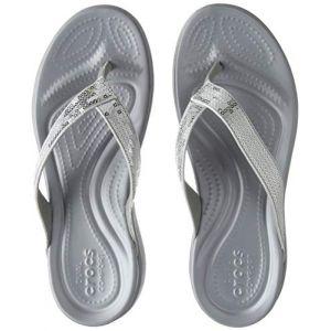 Crocs Capri V Sequin Flip, Sandales Femme, Argent (Silver), 34-35 EU