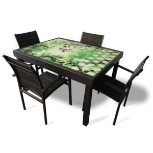 Alpina Garden Modulo Feuille 4 - Ensemble de jardin imprimé avec 4 fauteuils