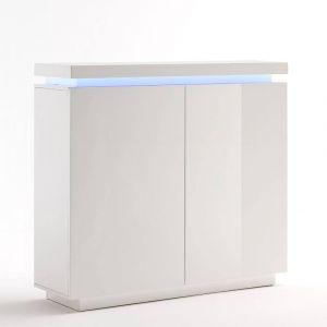 Inside75 Buffet haut OCEAN laqué blanc brillant 2 portes LED blanc inclus cf9d9d6d76dd