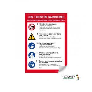 Novap Panneau Les gestes barrières - Rigide - A4