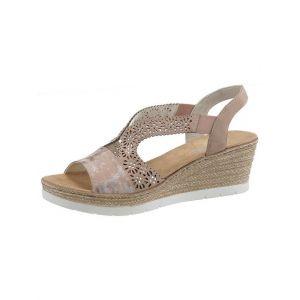 Rieker 61916 Femme Sandales compensées,Chaussures d'été,Confortable,Plat,rosa/altrosa/31,38 EU / 5 UK