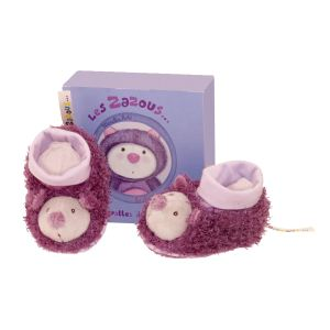 Moulin roty Chaussons Les Zazous : Chat (0-6 mois)