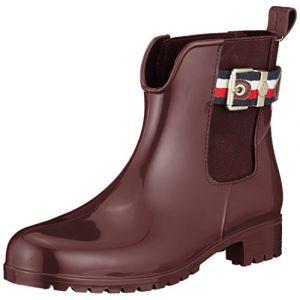 Tommy Hilfiger Corporate Belt Rain Boot, Bottes et Bottines de Pluie Femme, Rouge (Decadent Chocolate 296), 40 EU
