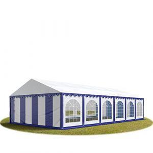 Intent24 TOOLPORT Tente Barnum de Réception 6x12 m PREMIUM Bâches Amovibles PVC 500 g/m² bleu-blanc + Cadre de Sol Jardin.FR