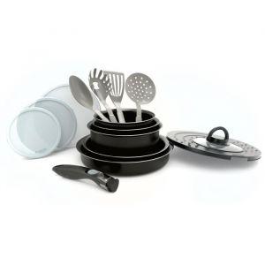 Batterie de cuisine 14 pieces + poignée amovible noir - Matière : aluminium et métal - Dimensions : 16/18/20/24/28 cm - Coloris : noir - Tous feux dont induction