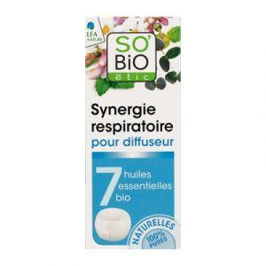So'Bio Étic Synergie Respiratoire pour diffuseur aux 7 huiles essentielles bio