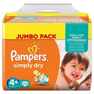 Pampers Simply Dry taille 4+ Maxi+ 9-20 kg - Jumbo Pack 70 couches