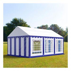 Intent24 Tente de réception 4 x 6 m PVC bleu-blanc