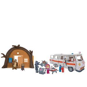 Simba Toys Coffret hutte et ambulance Masha et Michka