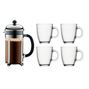 Bodum K1928-16COS - Set cafetière Chambord 1 L + 4 mugs Bistro 0,35 L