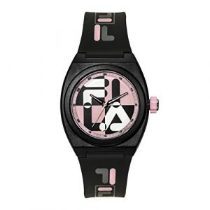 FILA Montre 38-180-104 - Quartz Boitier rond en plastique noir Cadran noir et rose Bracelet noir en plastique Femme
