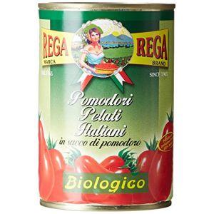 Rega Tomates Pelées Bio 400 g - Lot de 8
