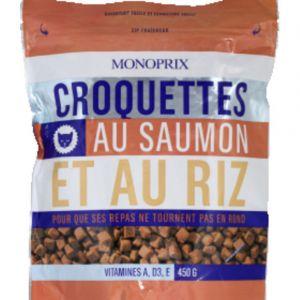 Monoprix Croquettes pour chat au saumon et au riz, adulte - Le sachet de 450g
