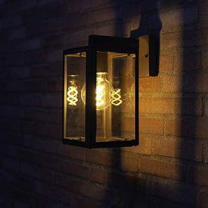 Qazqa Classique/Antique/Rustique/Rétro Applique Murale extérieure Sutton Bas anthracite verre/Acier inoxydable Gris Cube/Carré/Jardin/Luminaire/Lumiere/Éclairage