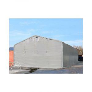 Intent24 TOOLPORT hangar 8x36 m, porte 4,0x3,6 m, toile PVC d'env. 550 g/m² gris, statique : terre
