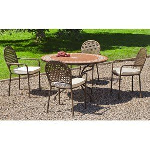 Hévéa Salon de jardin table ronde et fauteuils 4 places
