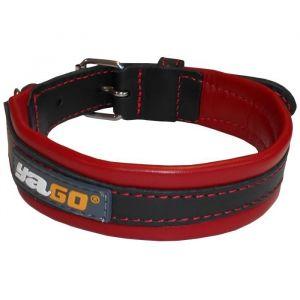 YAGO Collier en cuir - Taille M 34-43 cm - Noir et rouge - Pour moyen chien