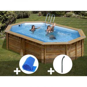 Sunbay Kit piscine bois Cannelle 5,51 x 3,51 x 1,19 m + Bâche à bulles + Douche