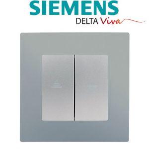 Siemens Interrupteur Volet Roulant Silver Delta Viva + Plaque Silver