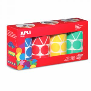Agipa Lot de 4 rouleaux de gommettes motifs et couleur assortis