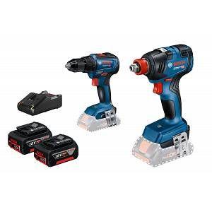 Bosch Kit 2 outils GSR 18V-55 + GDX 18V 200 - Batt.2x4Ah + charg.GAL18V-40 - 06019J2200