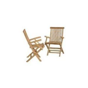 2 fauteuils de jardin pliants en teck brut