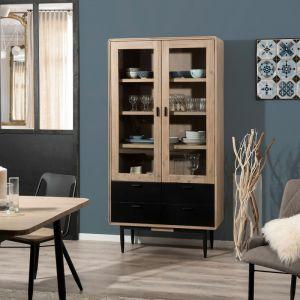 Bibliothèque 2 portes 4 tiroirs acacia massif et acier bois clair noir Iris