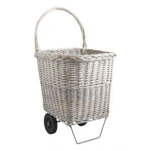 Pegane Chariot à bûches en osier gris -