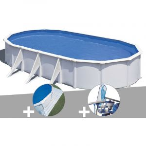 Gre Kit piscine acier blanc Wet ovale 7,44 x 3,99 x 1,22 m + Tapis de sol + Kit d'entretien