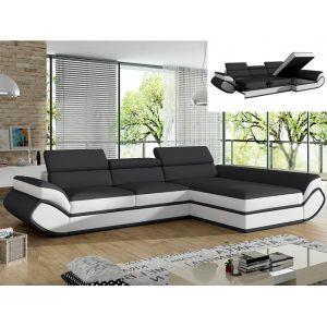 Canapé d'angle convertible en simili ORLEANS Gris et bandes blanc s Angle droit